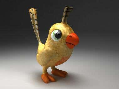 Little 3D Bird Character for 3D mobile game