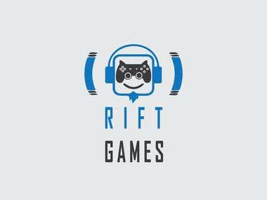 """Logo for gaming company call \""""RIFT GAMES\"""""""