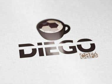 Eye catching logo designed for DIEGO Cafe for football fans