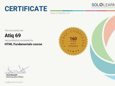 HTML5 competency certification by SoloLearn