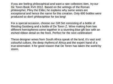 De Toren Wines
