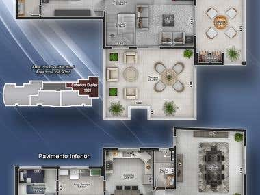 Furnished duplex apartment`s blueprint.