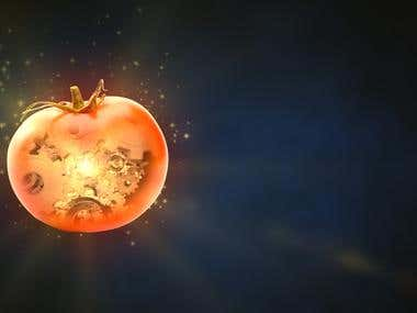 Conceptual tomato with gears inside