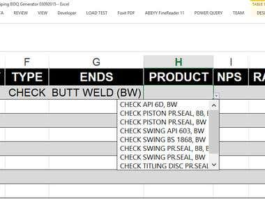 Smart in cell drop choice menus for wholesale orders