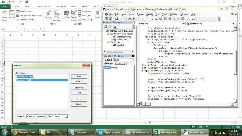 Get Pdf files name list in Excel   Freelancer