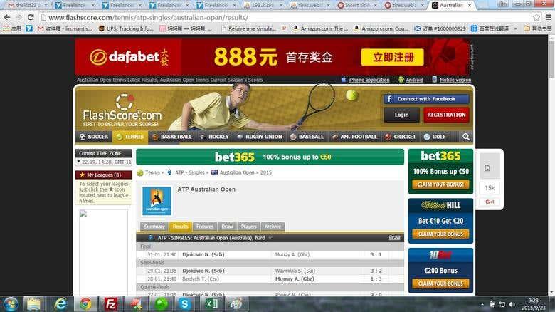 Scrape Tennis Data From Flashscore Com Freelancer