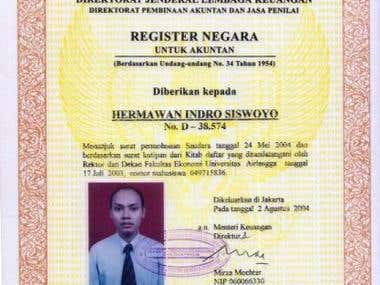 Indonesia Registered Accountant Number D.38.574