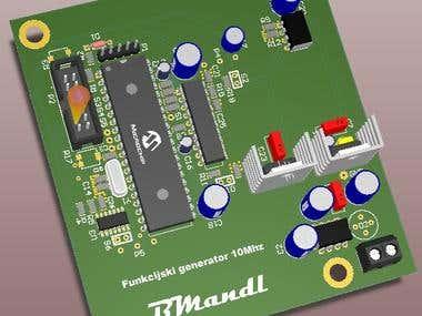 Custom designed PCB for signal generator