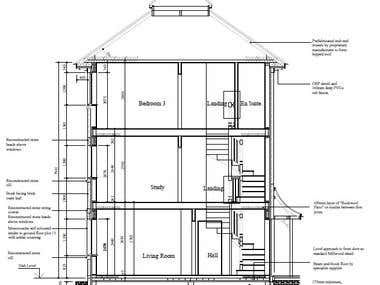 Sectional elevation construction drawing