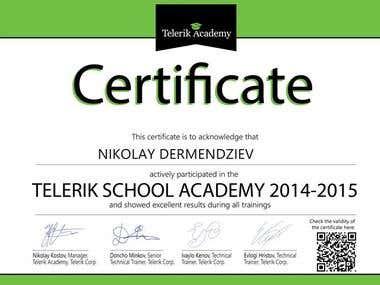 Telerik Software Academy Certificate