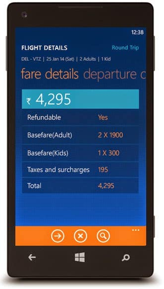Yatra Windows Phone app
