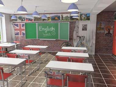 Design  decision  of English  classroom  in school