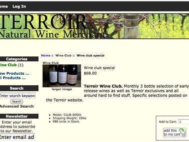 Online Store for Terroir SF Wines