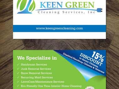 Post Card size flyer for keen-green