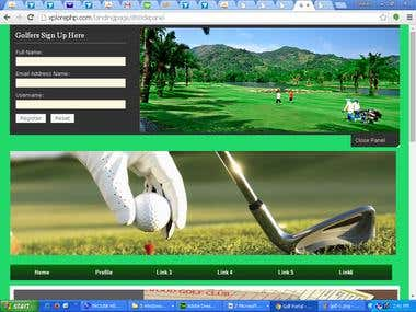Landing page for Golf Management