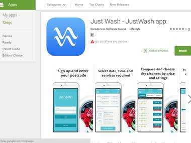 Just Wash Android application