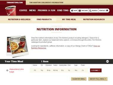 Tim Hortons Nutritional Calculator