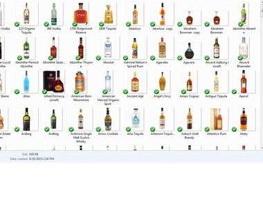 liquor bottles on transparent background