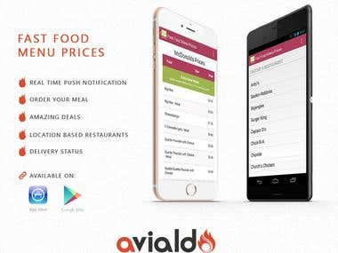 Fast Food Menu Prices Android / iPhone Application