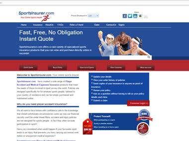 A sports insurance website