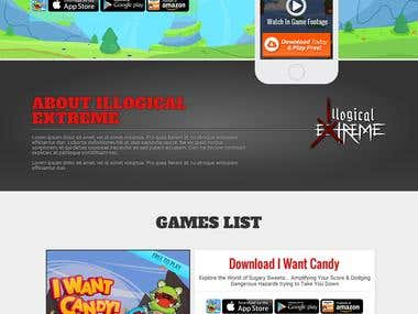 One Page Website for Gaming Company