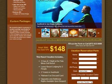 Resort Vacation Sales Website - Form