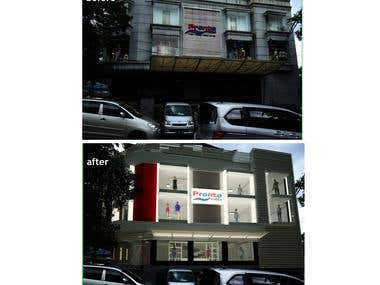 Facade remodelation of clothes store