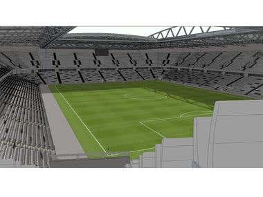 SketchUp Model of a Football Stadium