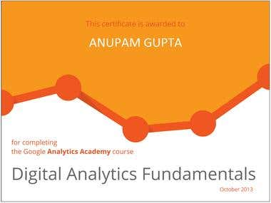 GOOGLE ANALYTICS ACADEMY DIGITAL ANALYTICS CERTIFICATE