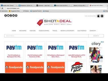 Shotadeal: Website,  ios, Android Application