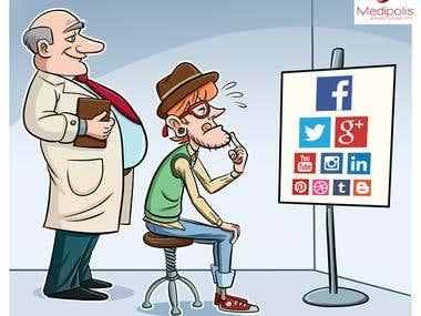 Cartoon concepts for social media posts