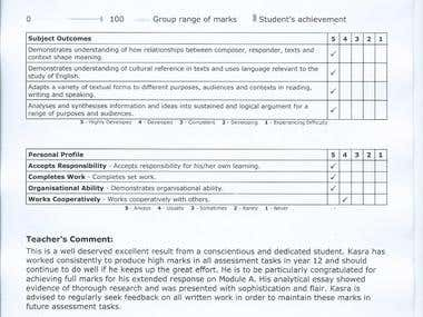 Year 12 English Report.