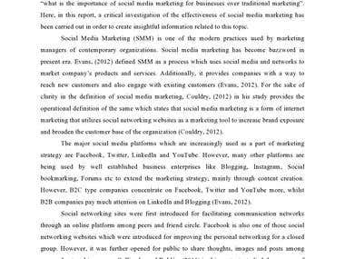 Literature review on Social Media Marketing