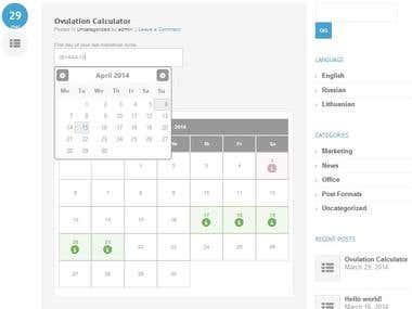 WordPress Plugin for Ovulation Calculator / Calendar