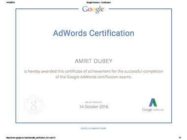 Google Partners - Certification for Amrit Dubey