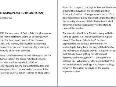 BRINGING PEACE TO BALOCHISTAN