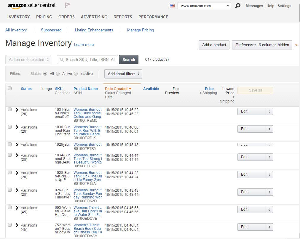 Amazon Seller Central Product Order Entry and Management