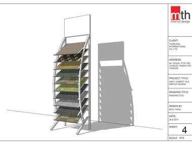 PVC Vinyl Carpet Tile Display Stand