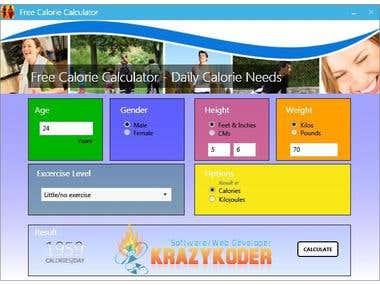 Calorie Calculator Application + Source + Installer