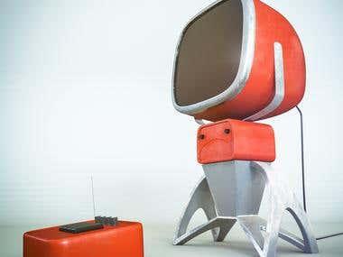 3D retro-futuristic model