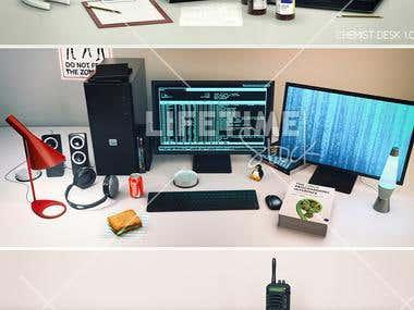 3d desk scenes