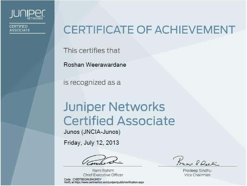 Juniper Certified Associate