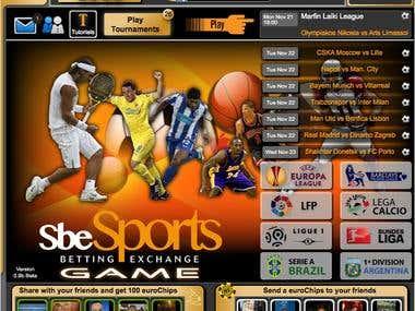 SBE Sports Landing page
