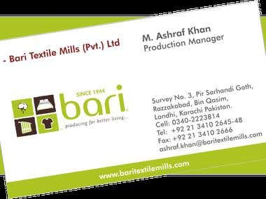 Business Card of Bari Textile Mills