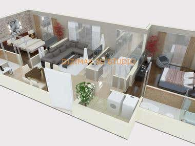 3D floor plan renderings