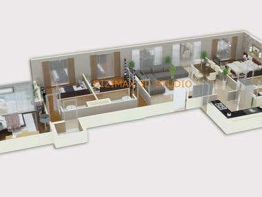 3D Floor Plan Rendering/ Iso-metric Renderings