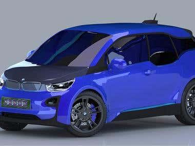 3D BMW I3 car modeling & rendering