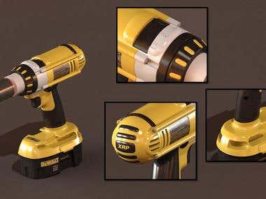 3d Dewalt hand drill with battery assy.