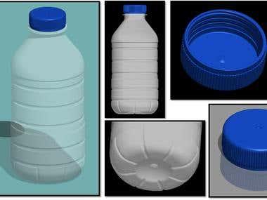 3D water bottle.