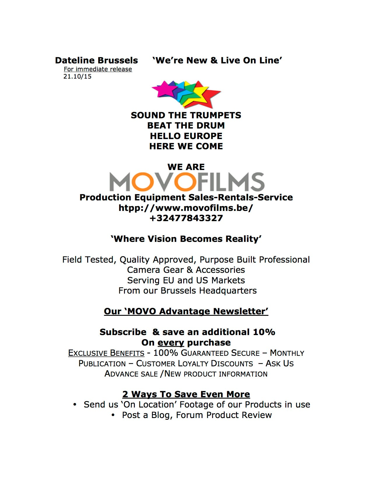 MovoFilms Press Release (edited)